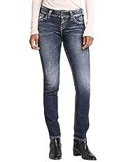 Silver Jeans Co. Women's Suki Curvy Fit Mid-Rise Straight Leg
