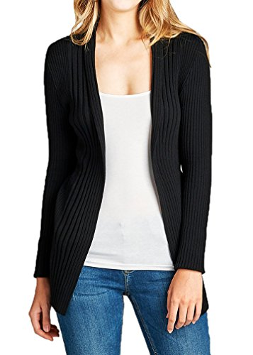 JNTOP Women's Ribbed Knit Open Front Cardigan Black Small (Ribbed Open Cardigan)