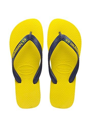 Havaianas Uomo Brasile Infradito Brasile Logo Sandalo Blu Navy / Giallo Agrumi