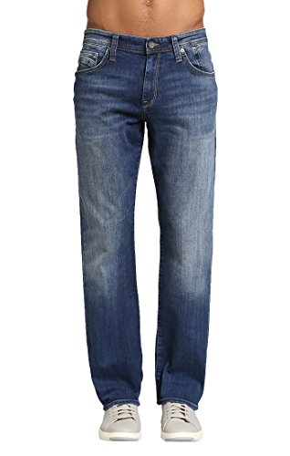 Mavi Jeans Men's Matt Rise Relaxed Straight in Mid Indigo Cooper, 34 X 32
