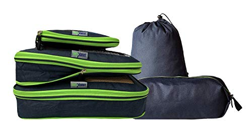 BigPlanet 5 Piece Set - Compression Packing Cubes For Travel, Laundry & Shoe Organizer Bags - Water Resistant Packing Cubes Organize & Compress Luggage Sets, Travel Accessories & Camping Accessories from Big Planet