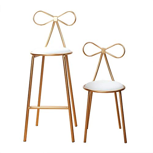 Mustbe Strong Nordic Backrest Bar Chair, Butterfly Stool, Garden Chair, Makeup Stool, High Stools, Kitchen Breakfast Chair, Seat Height 45cm/55cm/65cm/75cm, Gold,45CM from Mustbe Strong