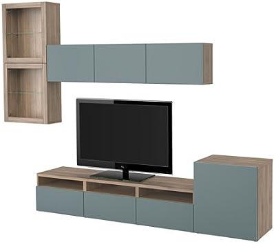 Ikea 12204.112317.1418 - Mueble de TV con cajones y puertas de cristal, color gris: Amazon.es: Juguetes y juegos