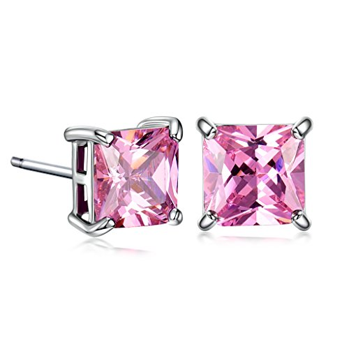 Rhinestone White Stud - GULICX White Gold Electroplated 7mm Square Cubic Zirconia Stud Huggie Earrings Pink for Girl Women