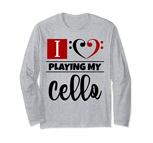 Double Black Red Bass Clef Heart I Love Playing My Cello Unisex Long Sleeve Shirt