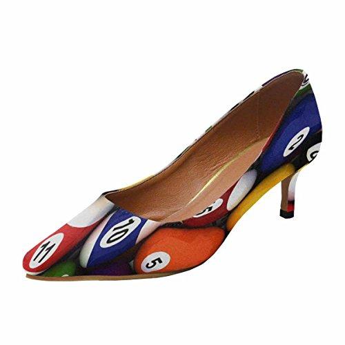 InterestPrint Womens Low Kitten Heel Pointed Toe Dress Pump Shoes Background With Billiard Balls Multi 1 zmtTq