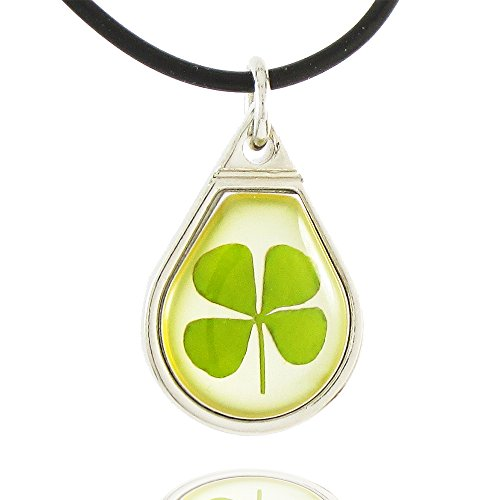 Genuine Four-leaf Lucky Clover Crystal Amber Necklace, Happiness Teardrop !