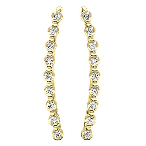 Dazzlingrock Collection 0.05 Carat (ctw) 14K Round White Diamond Ladies Crawler Curved Climber Earrings, Yellow Gold