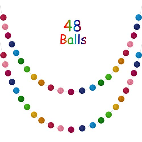 2 Pieces Wool Felt Ball Garland Colorful Pom Pom Garland Handmade 6.5 Feet Long 24 Balls Felt Ball Garlands for Wall Christmas Tree Decoration (Color Set 1)