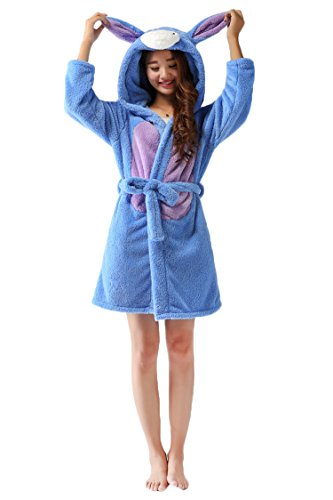 VamJump Women Winter Animal Flannel Hooded Nightgown Eeyore Robe Pajama L Blue