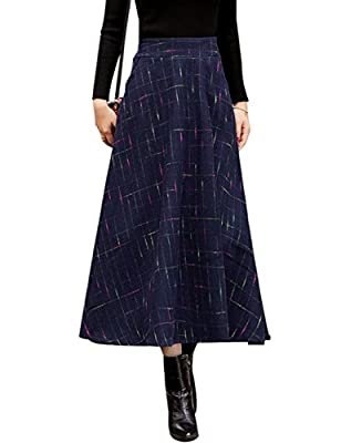 Tanming Women's Elastic Waist Wool Plaid A-Line Pleated Long Skirt