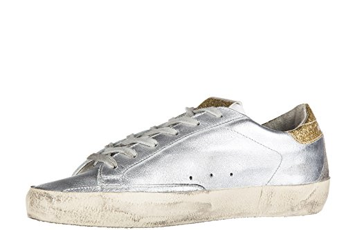 Golden Goose chaussures baskets sneakers femme en cuir superstar argent