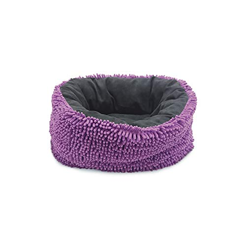 - Sleep Zone Chenille / Suede Reversible Infinity Donut, Cuddler Dog Bed - Fabric Bottom - 18X16 Inches / Purple/Grey / Attractive, Durable, Comfortable, Washable. By Ethical Pets