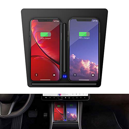 Justcool Tesla Model 3 Wireless Charger, Dual QI Wireless Phone Charging pad Dock Center Console with USB Splitter Cable for Tesla Model 3 Accessories [Upgraded Version]