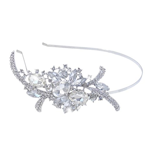 EVER FAITH® Bridal Flower Bouquet Hair Headband Austrian Crystal Crown
