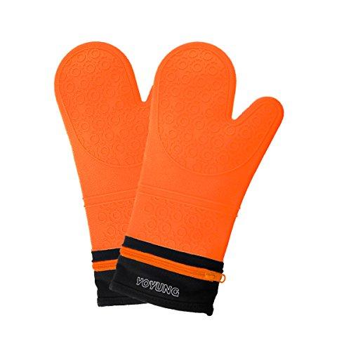 Detachable Silicone Oven Mitt - 1 Pair of Extra Long Professional Heat Resistant Potholder Gloves - Orange