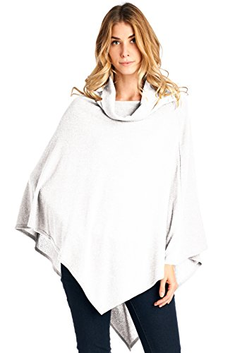 12 Ami Cowlneck Knit Point Hem Poncho Topper White One Size