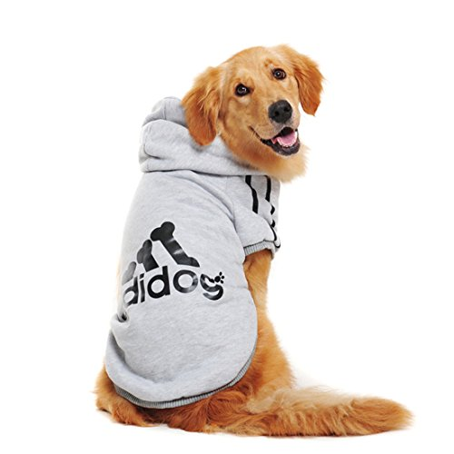 Large Dog Clothing - Spring Autumn Big Dog Clothes Coat Jacket Clothing for Dogs Large Size Golden Retriever Labrador 3XL-9XL Adidog Hoodie (Gray, 4XL)