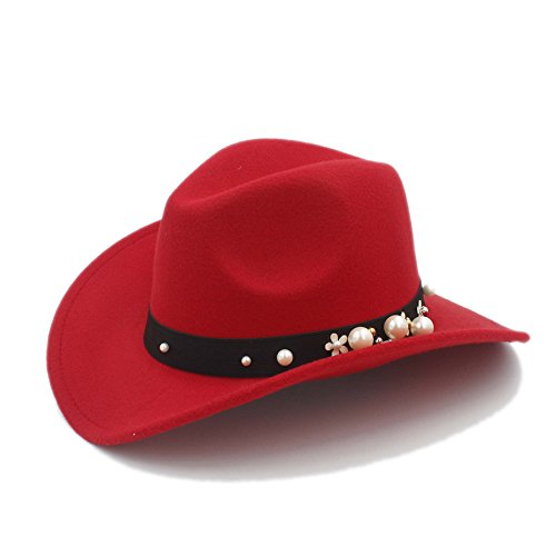 MTX-Hats Various Styles 7 Color Western Cowboy Hat Jazz Hat for Women with Pearl Flower Mai Tong Tian Xia Store (Color : 1, Size : 57-58CM)