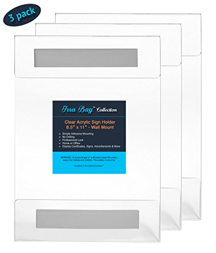 Irra Bay 8.5 x 11 Wall Mount Acrylic Sign Holder with Adhesive, No Drilling (Pack of 3) (Holders Wall Acrylic Sign)