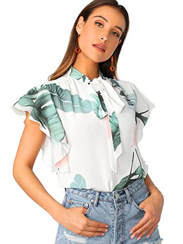 Floerns Women's Casual Cap Sleeve Bow Tie Blouse Top Shirts White-2 S