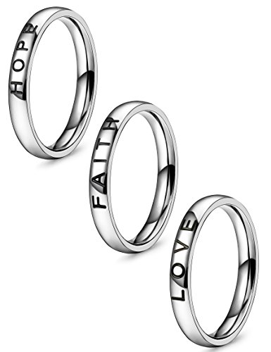 Hope Stackable Ring - Jstyle 3 Pcs Faith Love Hope Stainless Steel Rings for Men Women Stackable Band Ring Wedding Engagement Fashion Band (Silver-tone, 8)