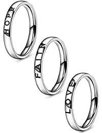 3 Pcs Faith Love Hope Stainless Steel Rings for Men Women Stackable Band Ring Wedding Engagement Fashion Band