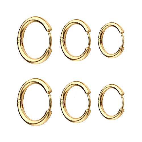 3 Pairs Stainless Steel Small Endless Hoop Earrings For Men or Women,Cartilage Lip Piercing Nose Hoop Black Silver Gold 10-14MM (Gold(10/12/14MM)) (Earrings Hoop Gold Small)
