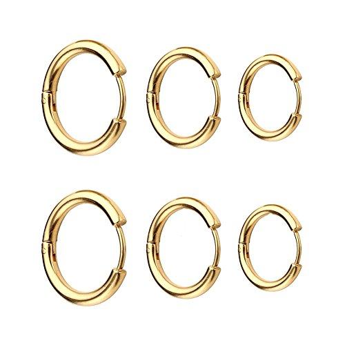 3 Pairs Stainless Steel Small Endless Hoop Earrings For Men or Women,Cartilage Lip Piercing Nose Hoop Black Silver Gold 10-14MM (Gold(10/12/14MM)) (Hoop Small Earrings Gold)