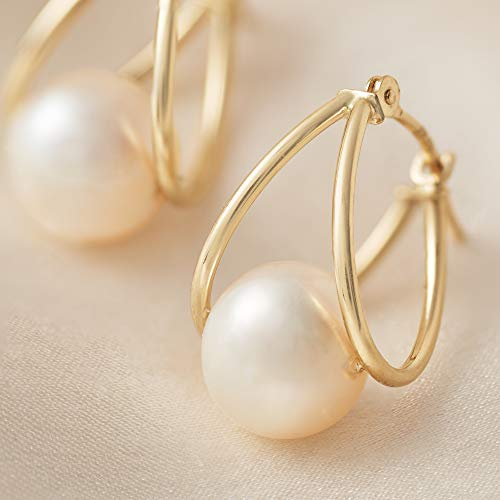 7cb3a50a0 Amazon.com  Ross-Simons 8-9mm Cultured Pearl Double Hoop Earrings in 14kt  Yellow Gold  Jewelry