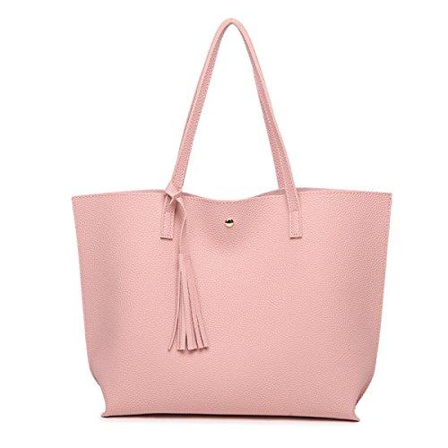 Coreano versión color sólido borlas hombro portátil bolsa de mujer, negro rosa