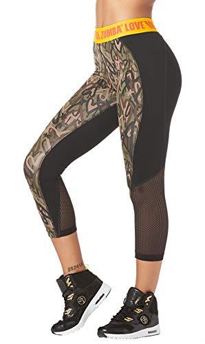 Zumba Fitness Wide Jacquard Waistband Workout Print Capri Leggings for Women, Army Green, XS