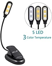 LED Book Light, PELAT 5 LEDs Reading Light, 2 Levels Color(White, Warm), 3 Levels Brightness, Clip-on Design, Designed for Night Reading, Bed Readers Light, Power supply can use the USB interface or Battery(Non-rechargeable)