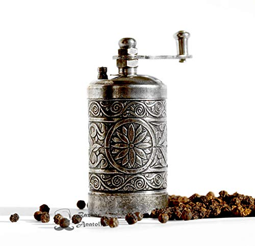 Turkish Grinder, Spice Grinder, Pepper Grinder, Pepper Mill 3.0'' (Dark Silver)
