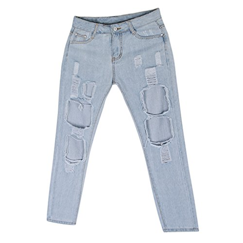 Moda Pantaloni Jeans Magideal Denim Chaio Strappati Donna Leggingsper Blu UwqABSq