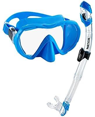 Seac Frameless Scuba Snorkeling Freediving Mask Dry Snorkel Set