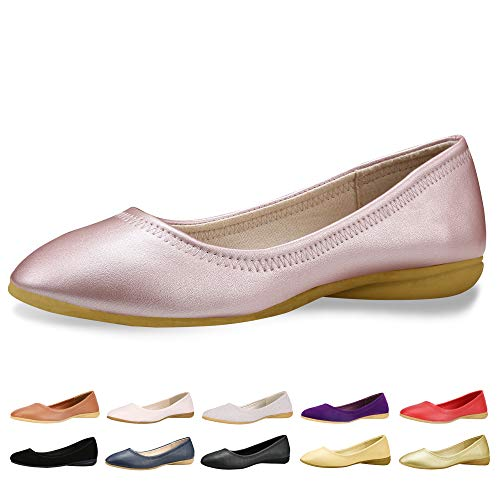 CINAK Women Flats Shoes – Slip-on Ballet Comfort Walking Shoes for Women (7-7.5 B(M) US/ CN39 / 9.5'', Pink)