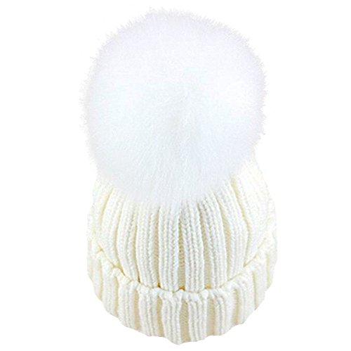 4fb575c44 GuoMan Womens Girls Knitted Fur Hat Real Large Silver Fox Fur Pom Pom  Beanie Hats