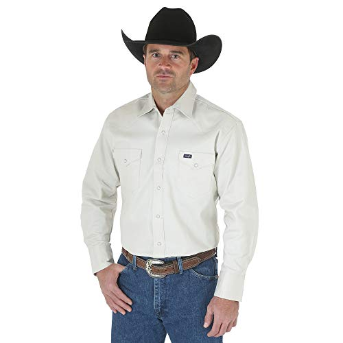 Wrangler Men's Big & Tall Western Work Shirt Firm Finish, Stone 4X