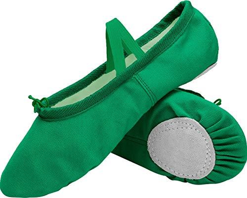 L-RUN Woman's Ladies Classic Yoga Canvas Ballet Dancing Shoes Green -