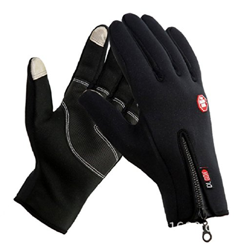 Hot Men Women Unisex Winter Outdoor Sport Full Finger Cycling Gloves Driving Hiking Skiing Gloves Windproof Tactical Mittens Gloves Touchscreen Gloves Phone Gloves for Smart Phone Ipad Black Medium