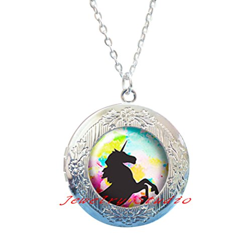 Steampunk Unicorn, Horse, Paint, Passion, - Victorian Style - silver Locket Necklace jewelry, Locket Necklace clip,Unicorn lover gift Unicorn love Unicorn - Locket Silver Style Victorian