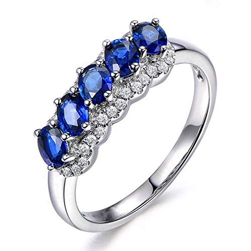 KnSam Sterling Silver Jewelry Wedding Rings for Women Oval Cut Sapphire Blue Size 9