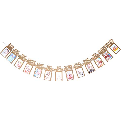 Hatcher lee Monthly Milestone Photo Banner-Gold Glitter for Newborn to 12 Months. Great for 1 Year Old Celebration, 1-12 Month Photograph Garland, (Kraft)