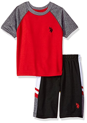 U.S. Polo Assn. Boys' Toddler T-Shirt and Mesh Short Set, Poly Interlock Cationic red, 2T