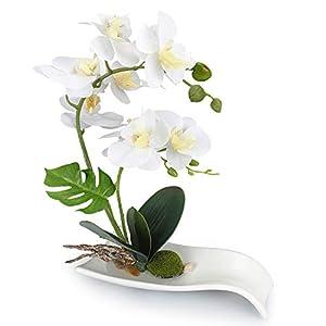 YOBANSA Orchid Bonsai Artificial Flowers with Imitation Porcelain Flower Pots Phalaenopsis Fake Flowers Arrangements for Home Decoration (White) 10