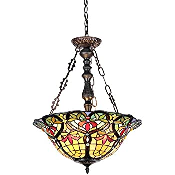 Chloe Lighting CH33389VR18-UH3 Tiffany-Style Victorian 3 Light Inverted Ceiling Pendant 18-Inch Shade, Multi-Colored