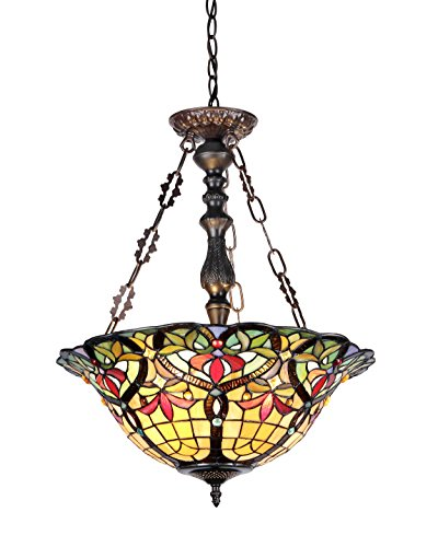 Chloe Lighting CH33389VR18-UH3 Tiffany-Style Victorian 3 Light Inverted Ceiling Pendant 18-Inch Shade - Multi-Colored