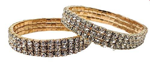 SIMPLICHIC Single Pack, Pack of 2, 3 Row Rhinestone Stretch Bracelet Gold-Tone ()