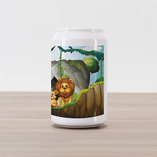 Lunarable Forest Cola Can Shape Piggy Bank, Lion Family in The Jungle Woods King Zoo Nursery Illustration, Ceramic Cola Shaped Coin Box Money Bank for Cash Saving, Apricot Chocolate Hunter Green ()